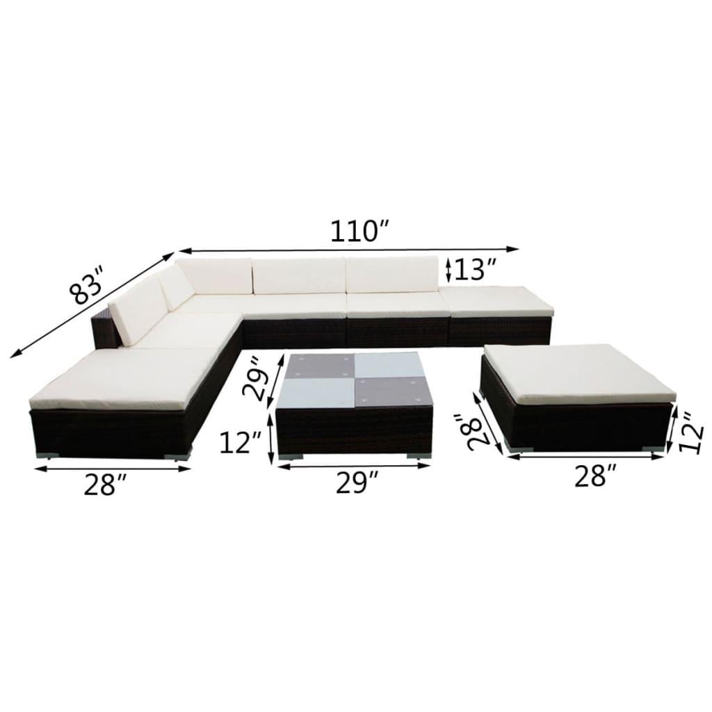vidaxl 20 piece garden lounge set brown poly rattan. Black Bedroom Furniture Sets. Home Design Ideas