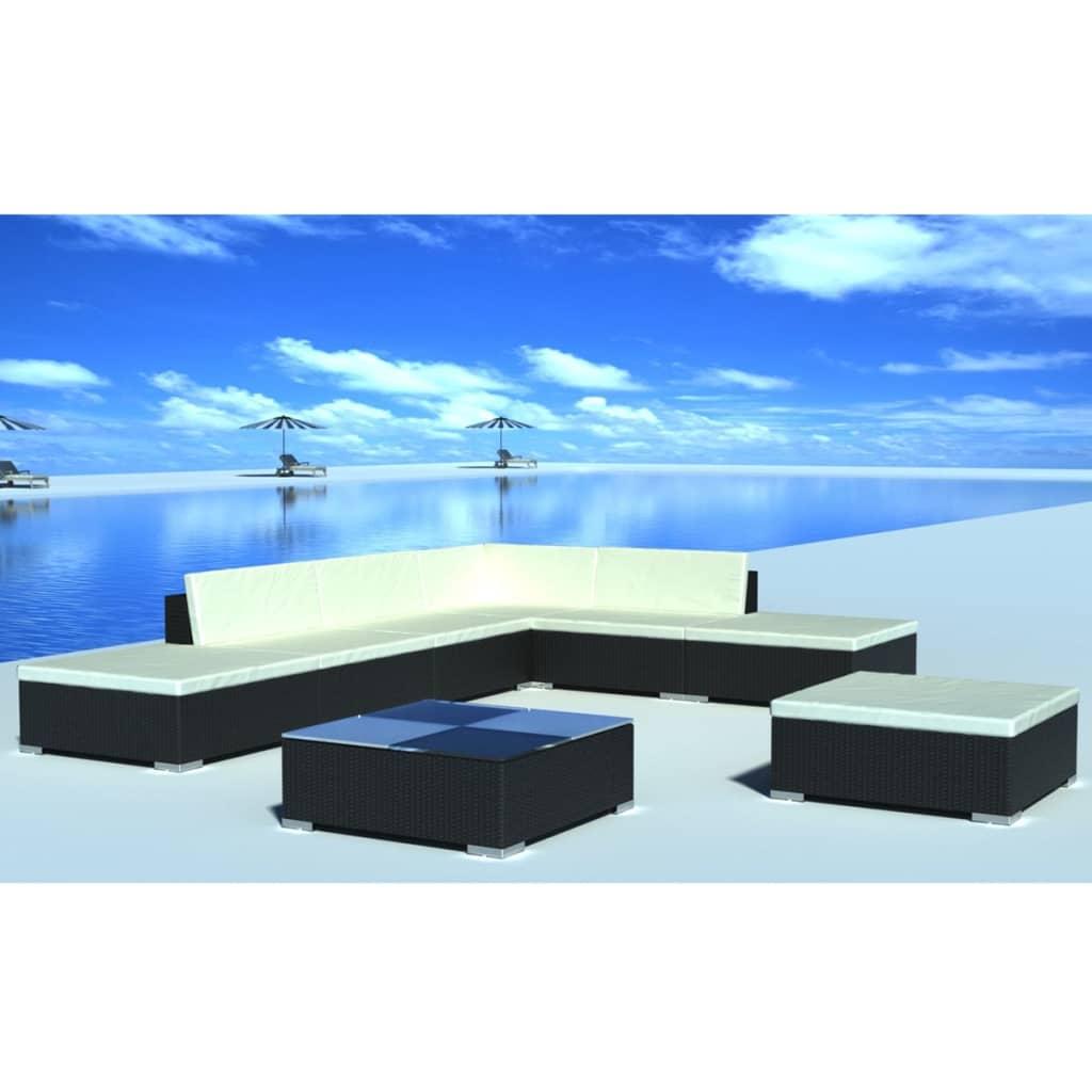 vidaxl 20 piece garden lounge set black poly rattan. Black Bedroom Furniture Sets. Home Design Ideas
