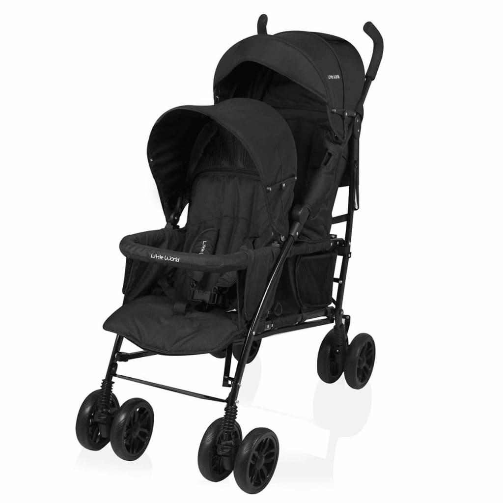 Little World Dubbele buggy Twing zwart LWST002-BK