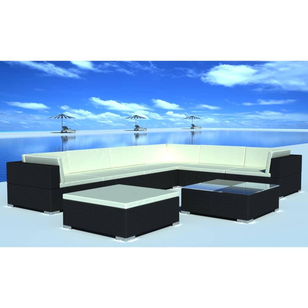 vidaxl 24 piece garden lounge set black poly rattan. Black Bedroom Furniture Sets. Home Design Ideas