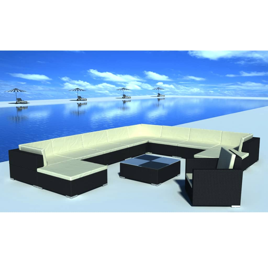 vidaxl 35 piece garden lounge set black poly rattan. Black Bedroom Furniture Sets. Home Design Ideas