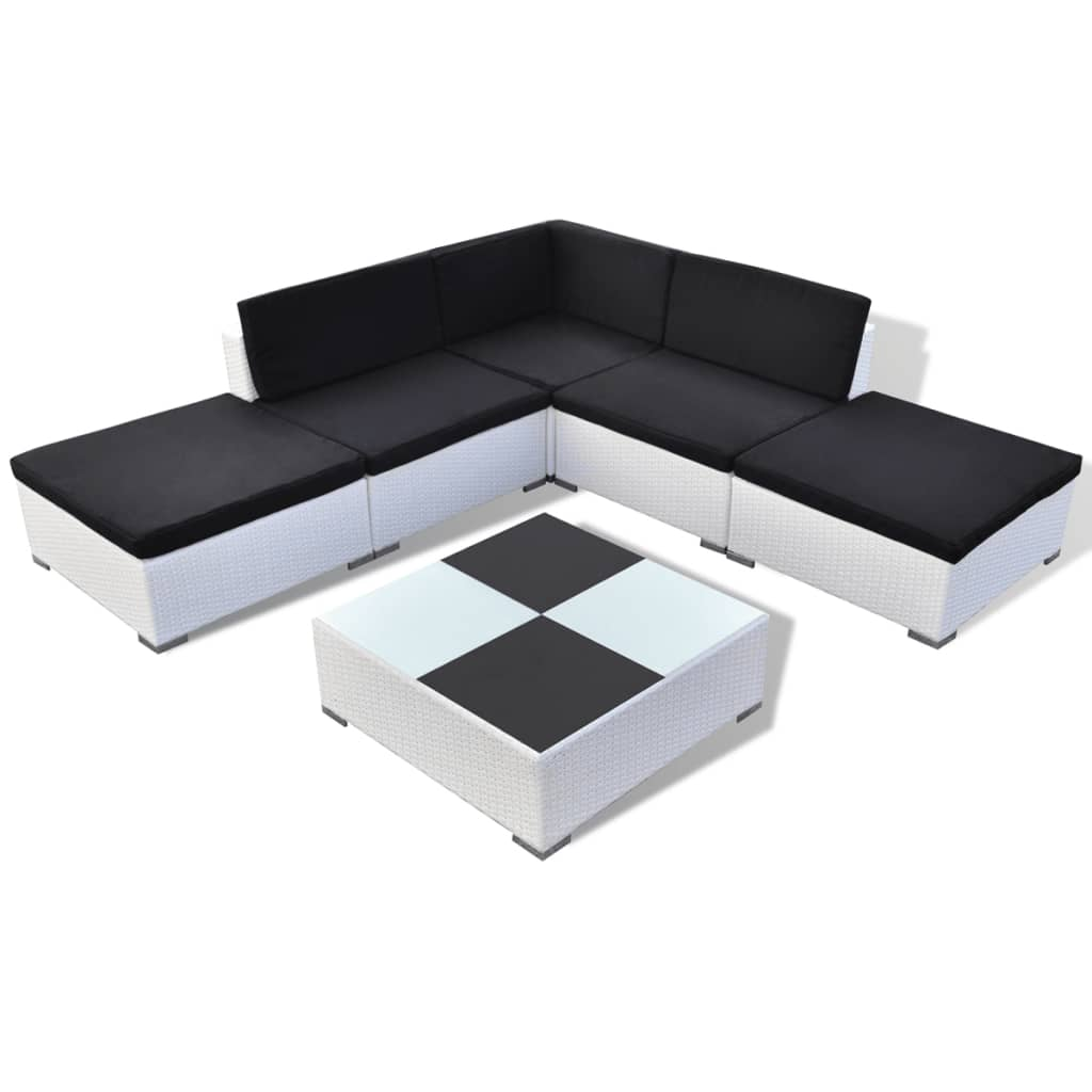 vidaxl 15 piece garden lounge set white poly rattan. Black Bedroom Furniture Sets. Home Design Ideas