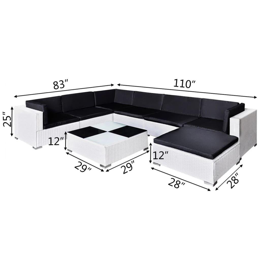 vidaxl 24 piece garden lounge set white poly rattan. Black Bedroom Furniture Sets. Home Design Ideas