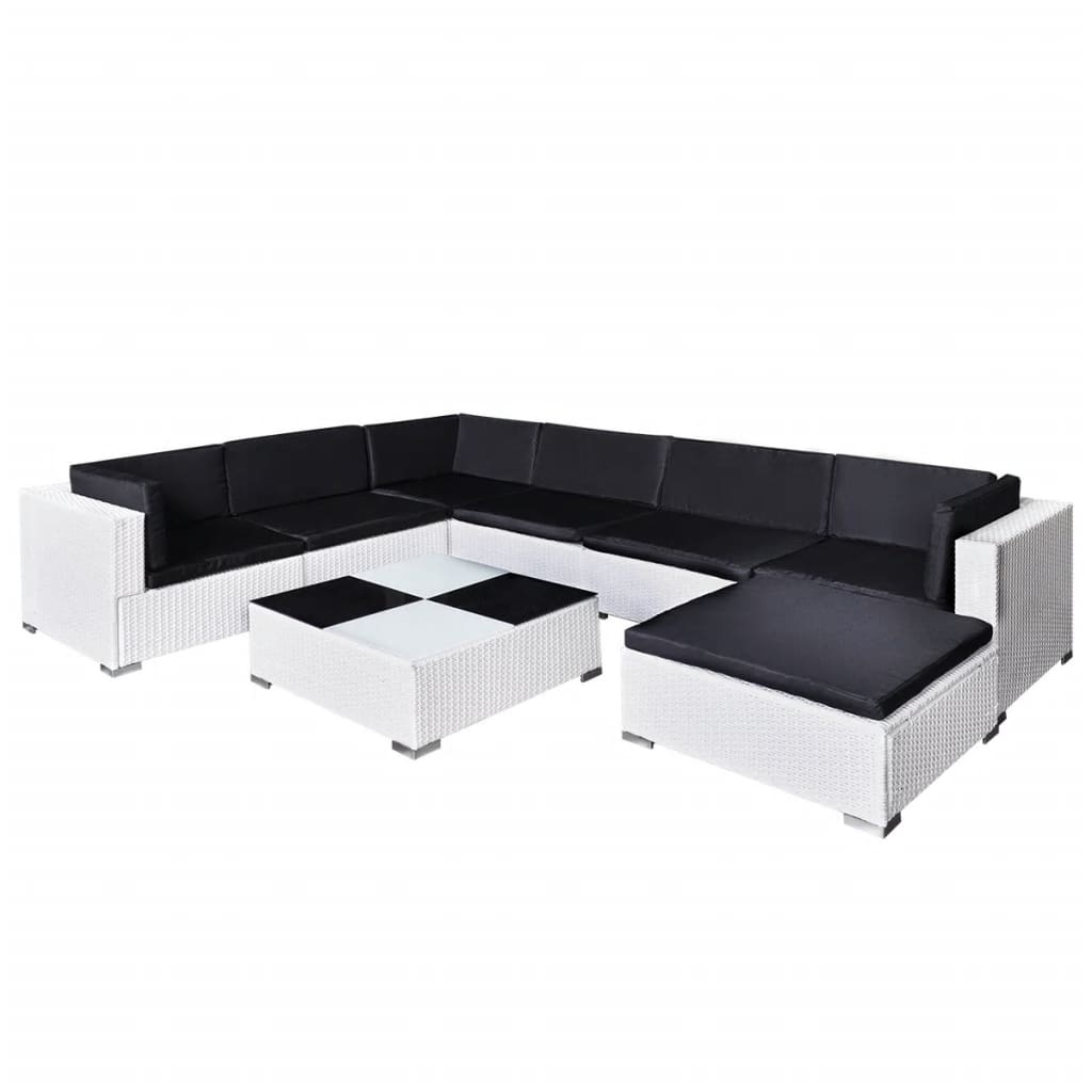 vidaxl 24 piece garden lounge set white poly rattan. Black Bedroom Furniture Sets. Home Design Ideas