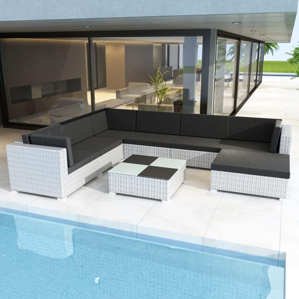 Vidaxl Outdoor Lounge Set 24 Pieces Wicker Poly Rattan White Garden
