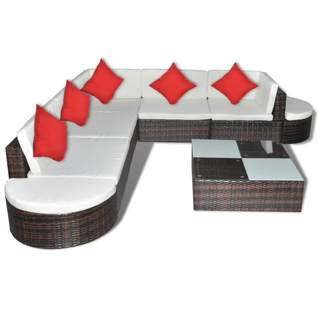vidaxl 27 piece garden lounge set brown poly rattan. Black Bedroom Furniture Sets. Home Design Ideas
