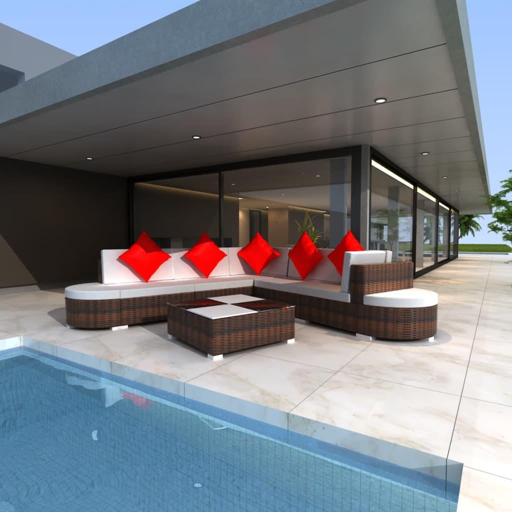 vidaxl 27 piece garden lounge set brown poly rattan. Black Bedroom Furniture Sets. Home Design Ideas