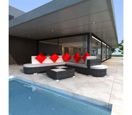vidaxl 27 piece garden lounge set black poly rattan. Black Bedroom Furniture Sets. Home Design Ideas