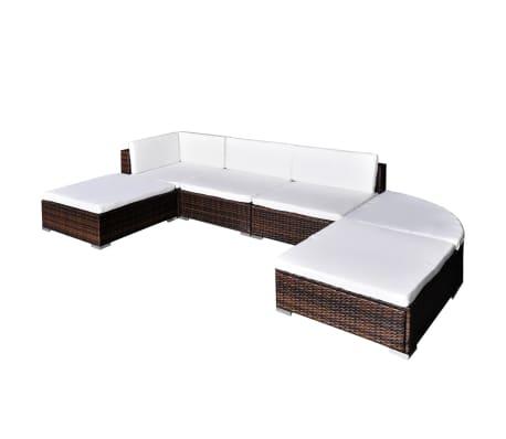 Elegant VidaXL Outdoor Lounge Set 16 Piece Wicker Poly Rattan Brown Garden Patio  Sofa