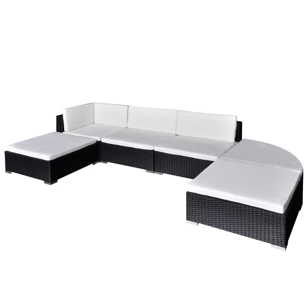 vidaxl 16 piece garden lounge set black poly rattan. Black Bedroom Furniture Sets. Home Design Ideas