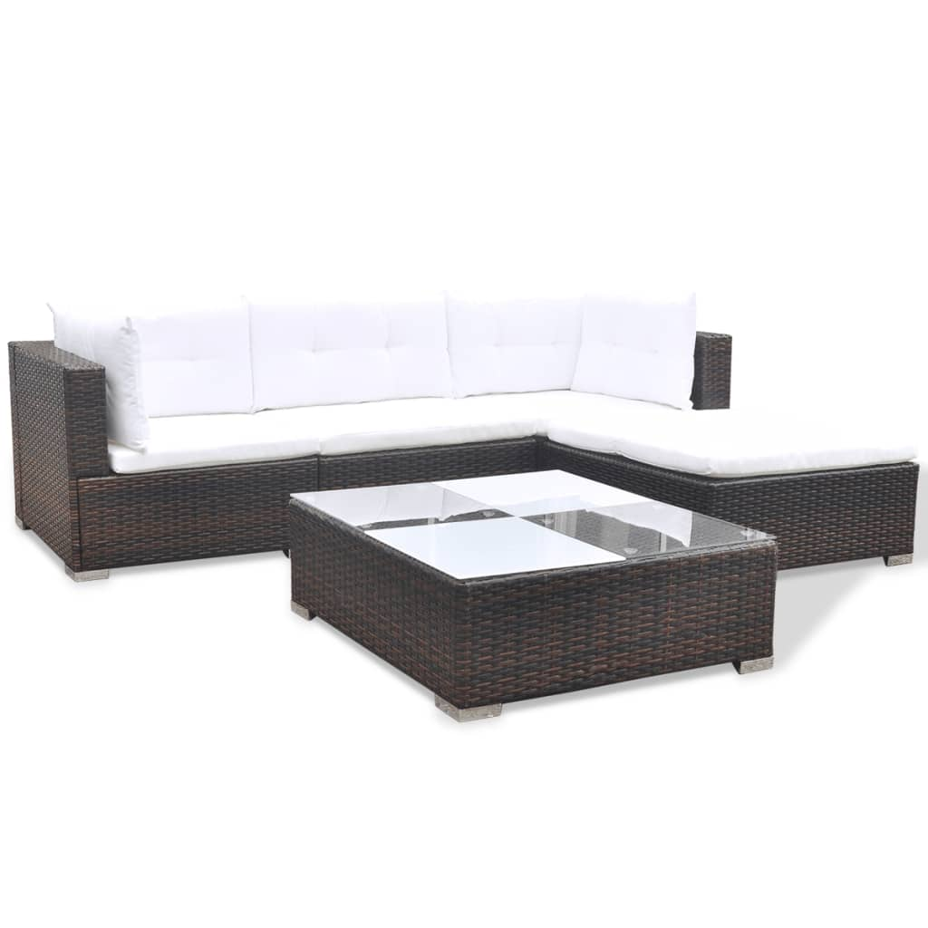 vidaxl 14 piece garden sofa set brown poly rattan. Black Bedroom Furniture Sets. Home Design Ideas