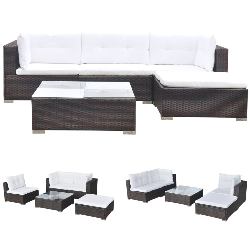 vidaXL 14 Piece Garden Sofa Set Brown Poly Rattan  vidaXL.com