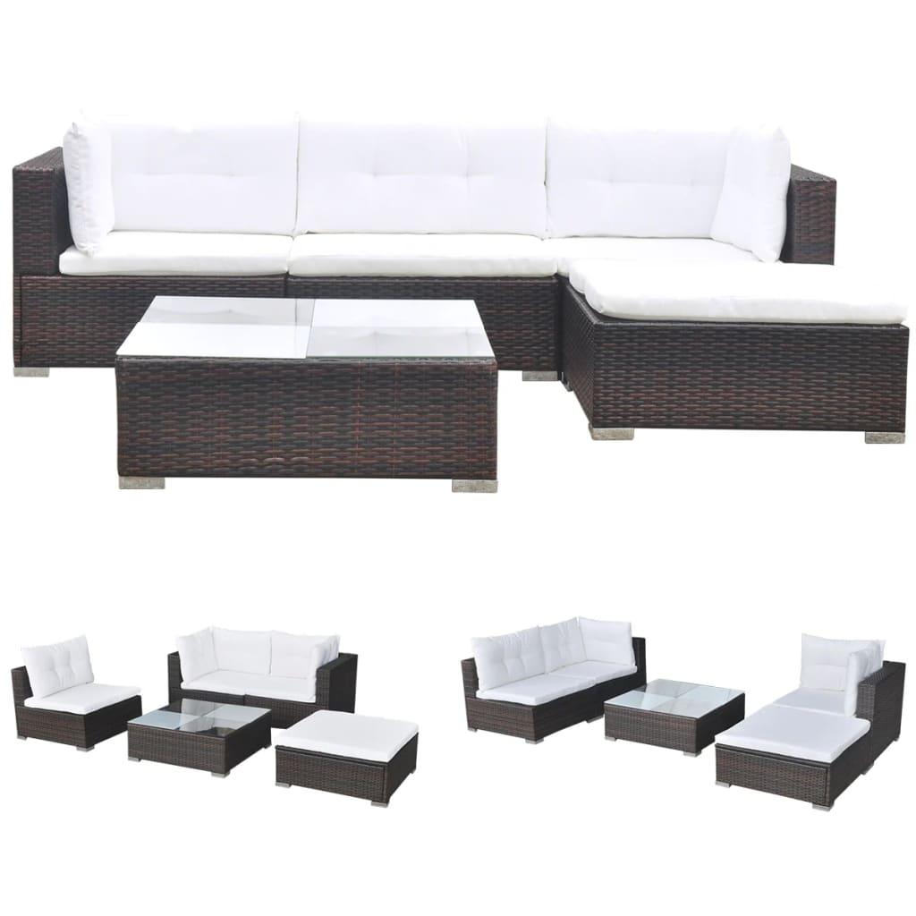 vidaxl 14 piece garden sofa set brown poly rattan. Black Bedroom Furniture Sets. Home Design Ideas