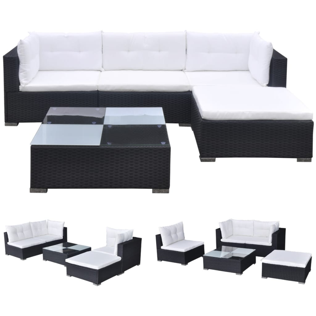 Vidaxl 14 Piece Garden Sofa Set Black Poly Rattan