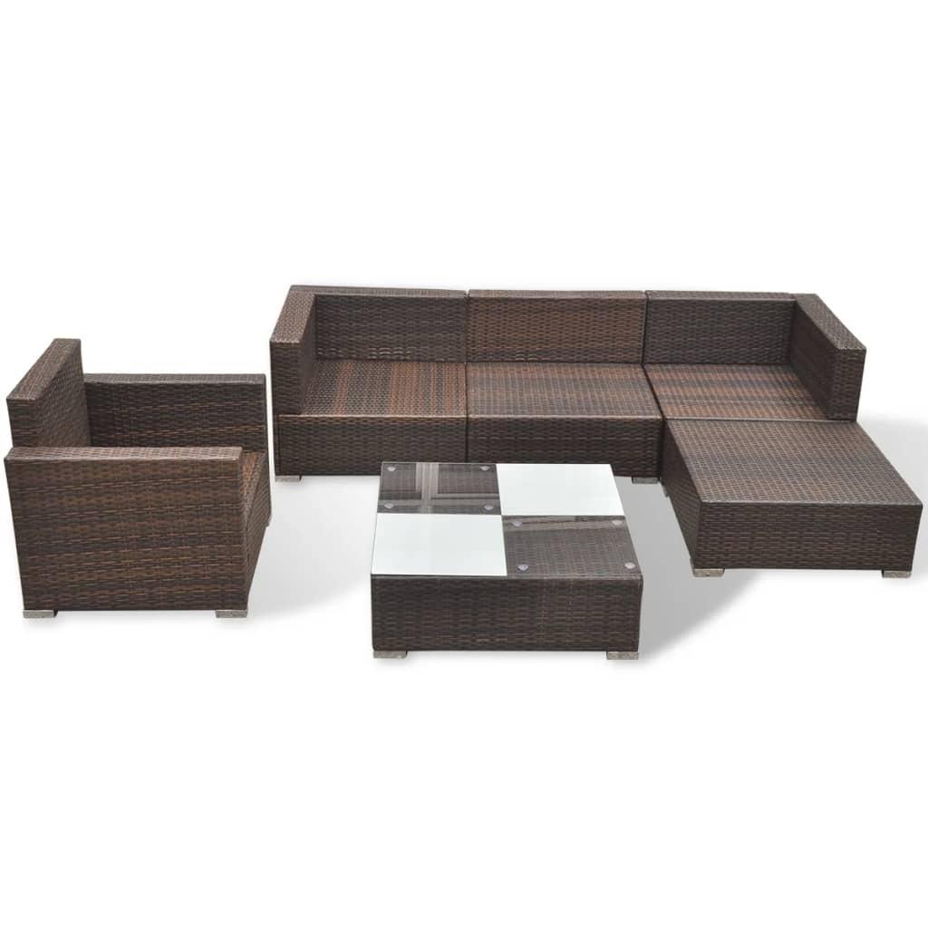 vidaxl 17 piece garden sofa set brown poly rattan. Black Bedroom Furniture Sets. Home Design Ideas