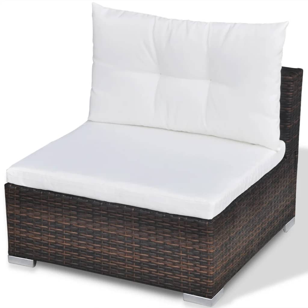 vidaXL 32 Piece Garden Sofa Set Brown Poly Rattan  vidaXL.com