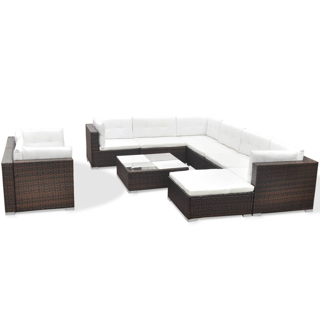 vidaxl 32 piece garden sofa set brown poly rattan. Black Bedroom Furniture Sets. Home Design Ideas