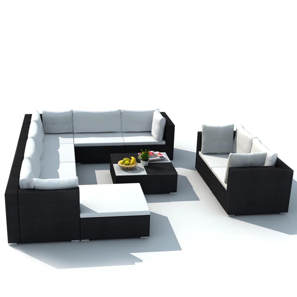vidaxl 32 piece garden sofa set black poly rattan. Black Bedroom Furniture Sets. Home Design Ideas