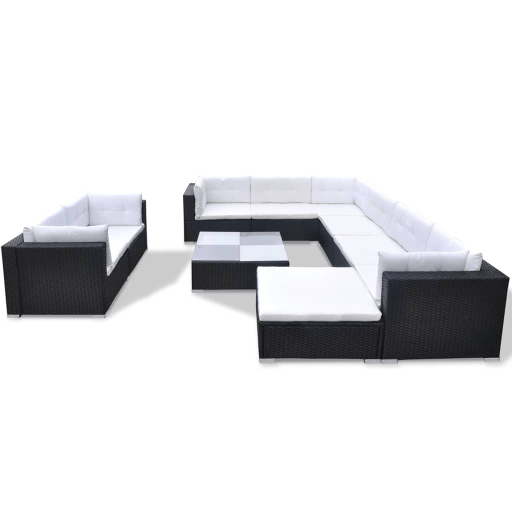 Vidaxl 32 Piece Garden Sofa Set Black Poly Rattan