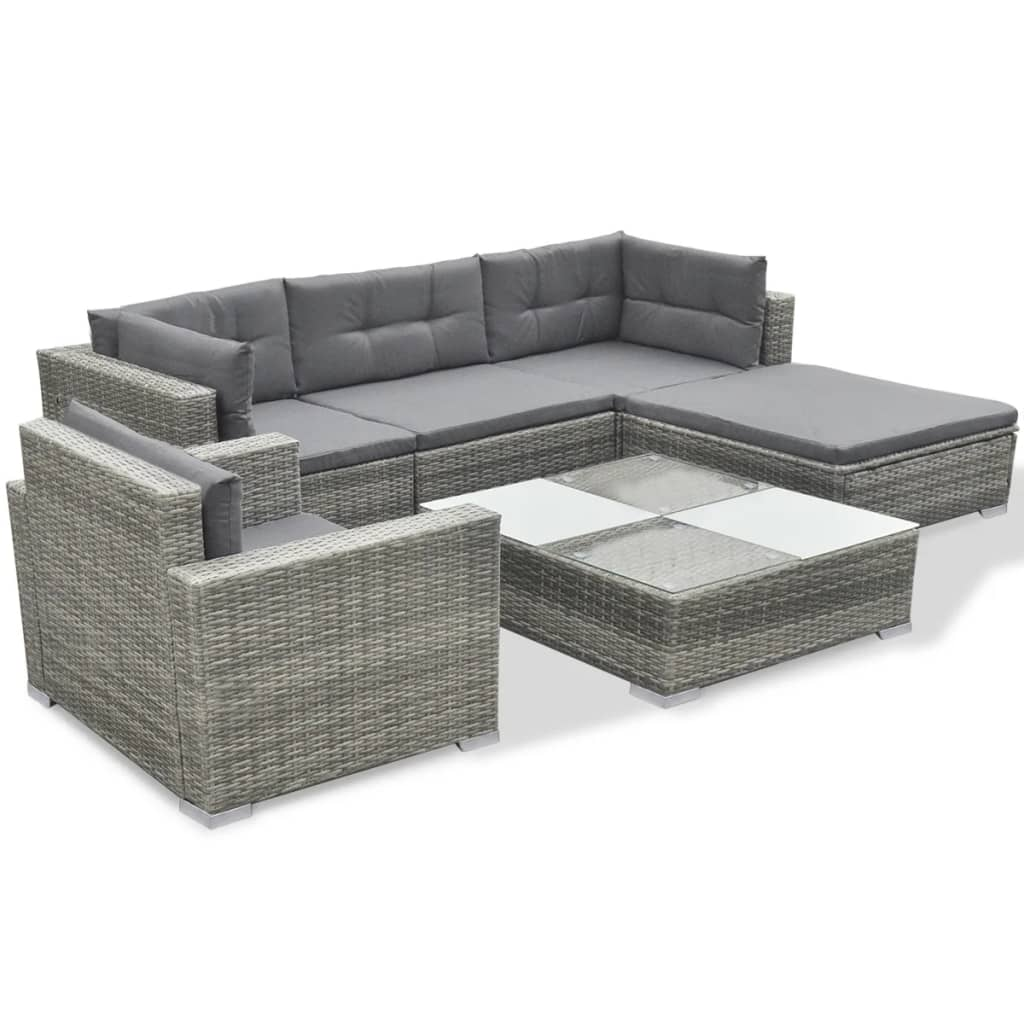 vidaXL Outdoor Sofa Set 17 Piece Wicker Poly Rattan Gray Garden ...
