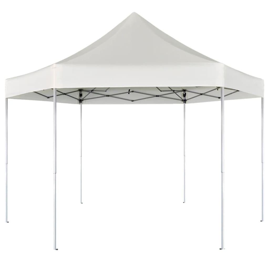 vidaXL 3,6x3,1 m hatszög alapú összecsukható pop up party sátor krémfehér színben
