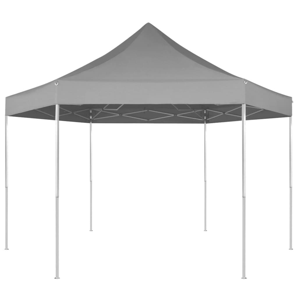 vidaXL 3,6x3,1 m hatszög alapú összecsukható pop up party sátor szürke