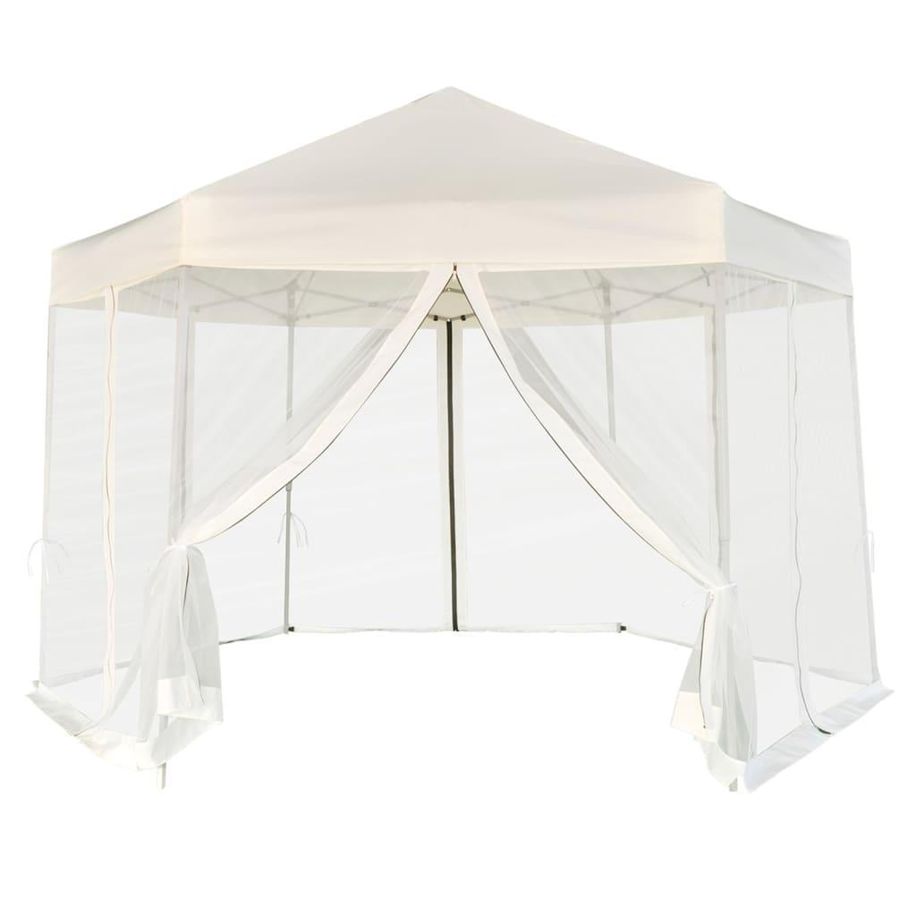 vidaXL 3,6x3,1 m hatszög alapú pop up party sátor 6 oldalfallal, krémfehér színben
