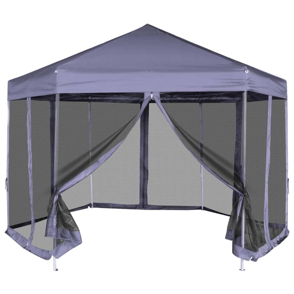 vidaXL 3,6x3,1 m hatszög alakú pop up party sátor 6 oldalfallal sötétkék
