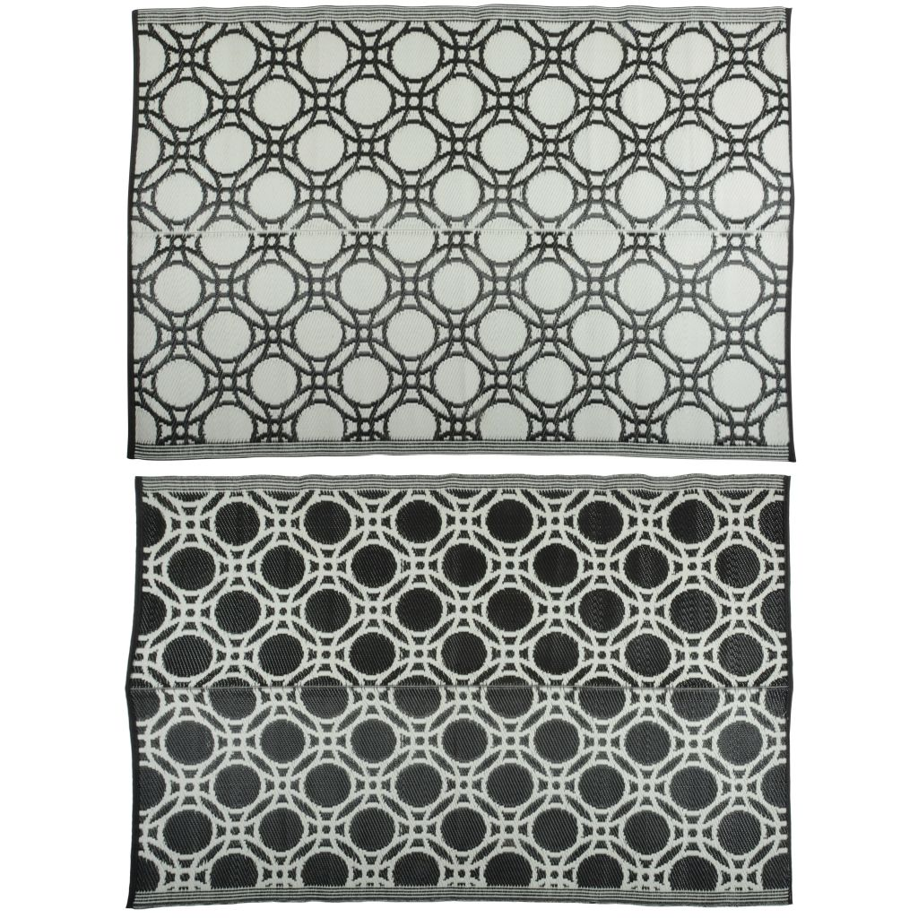 Afbeelding van Esschert Design Buitenkleed cirkels 174x121 cm zwart en wit OC17