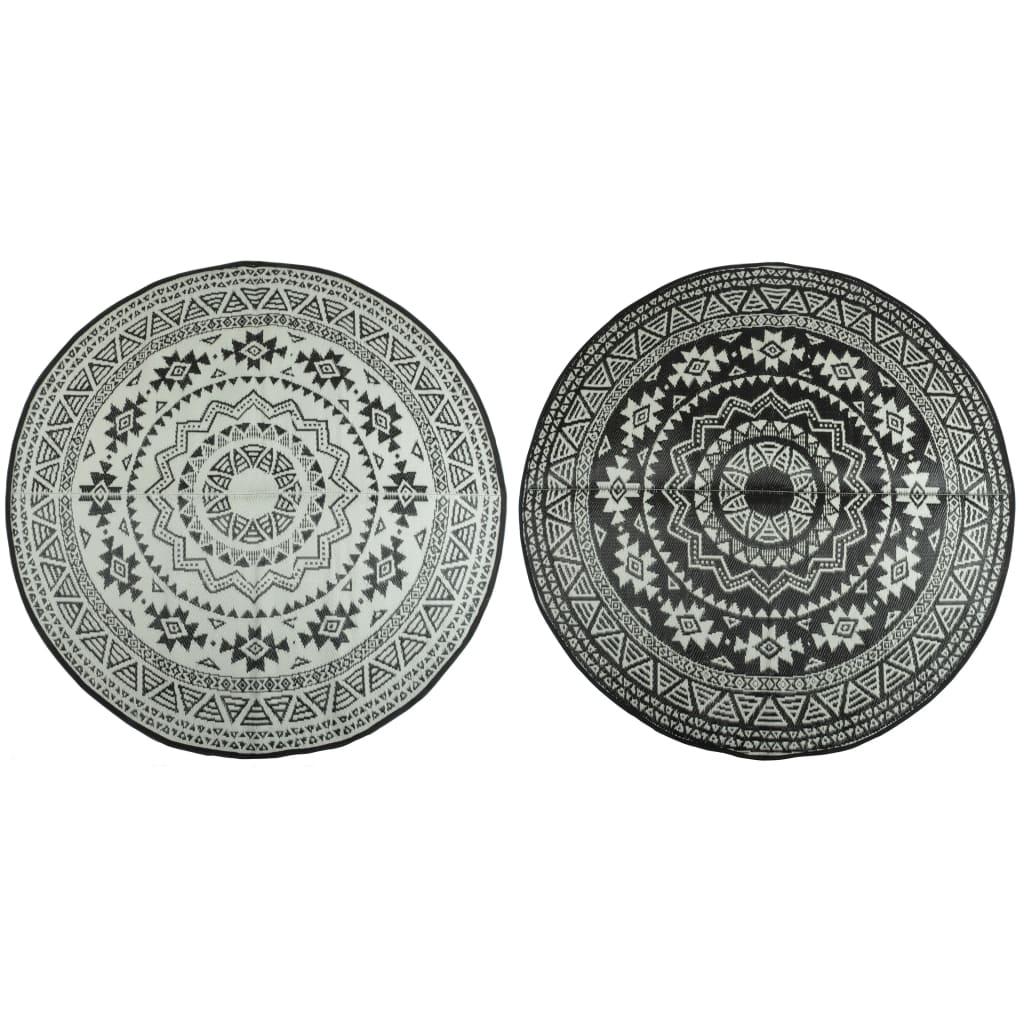 Afbeelding van Esschert Design Buitenkleed 180 cm zwart en wit OC18