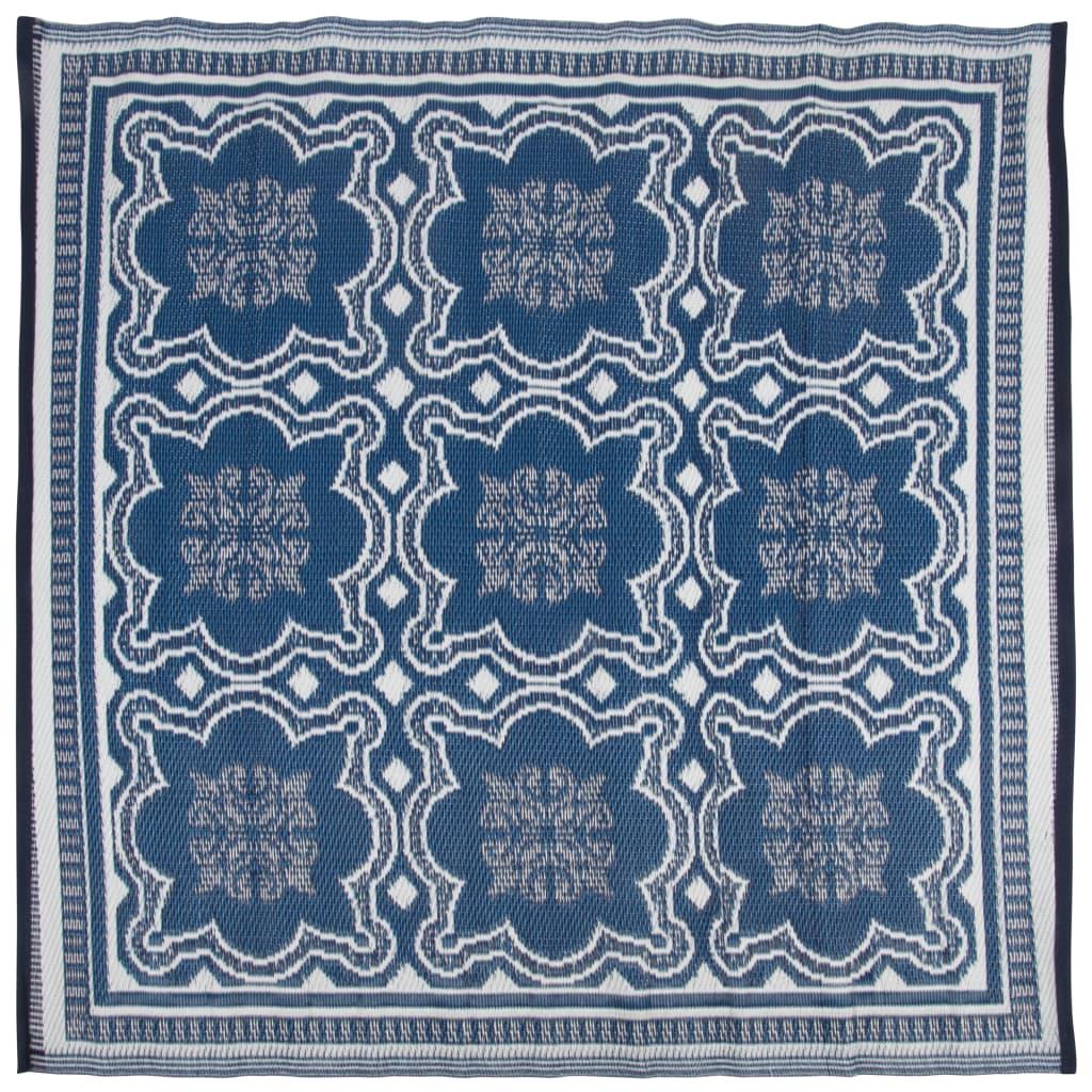 Afbeelding van Esschert Design Buitenkleed 151,5 cm blauw en wit OC23
