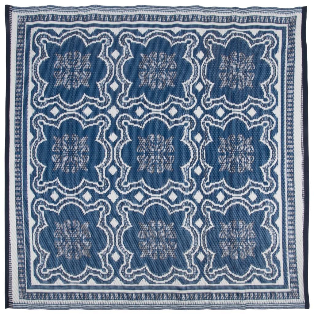 Esschert Design Outdoor Rug 1515 Cm Blue And White Patio Blanket