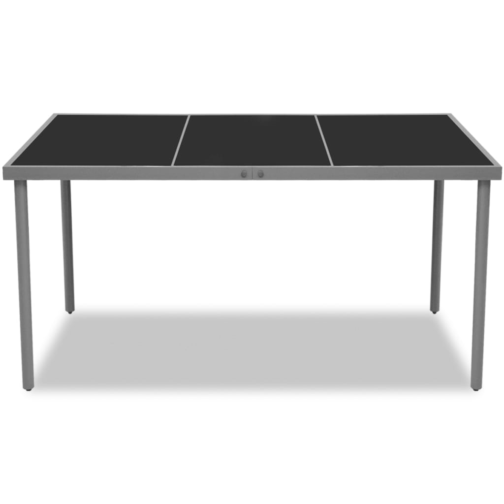 Vidaxl 150x90x74cm garden dining table glass top indoor for Outdoor dining table glass top
