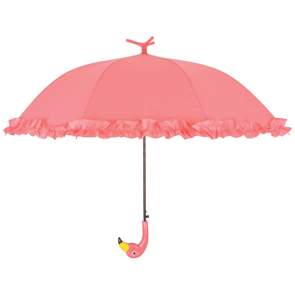 Afbeelding van Esschert Design Paraplu met ruches Flamingo 98 cm roze TP203