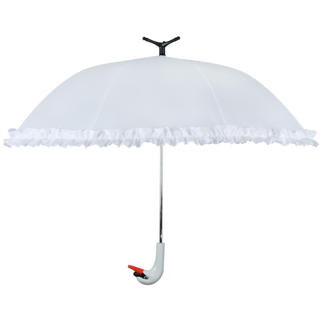 Afbeelding van Esschert Design Paraplu met ruches Swan 99,5 cm wit TP256