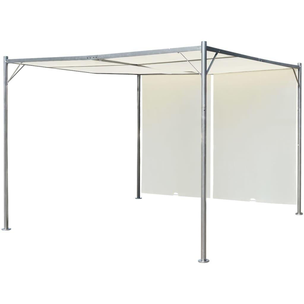 vidaXL Pergola with Adjustable Roof Cream White Steel 3x3 m