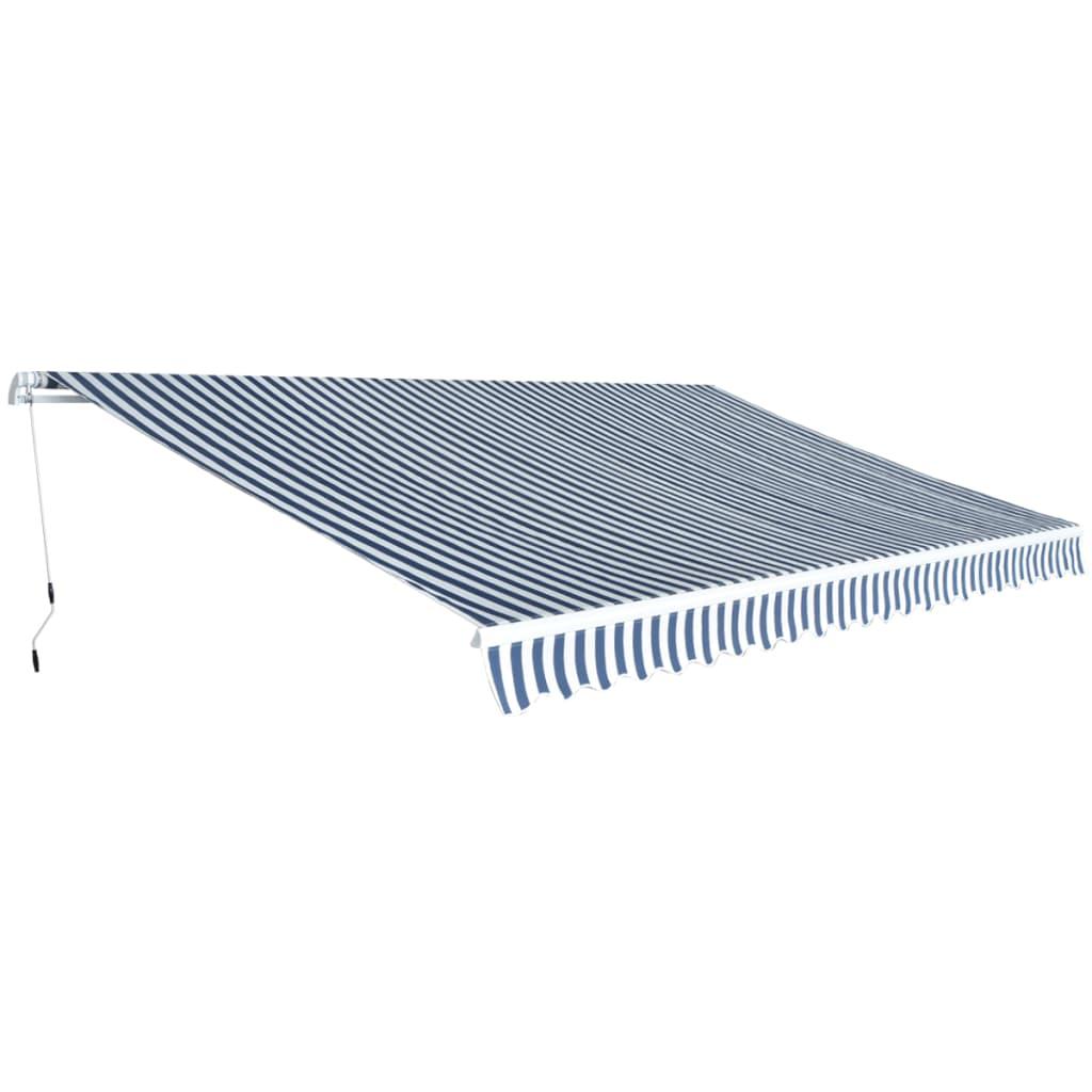 vidaXL kézzel működtethető napellenző kék és fehér, 500 cm