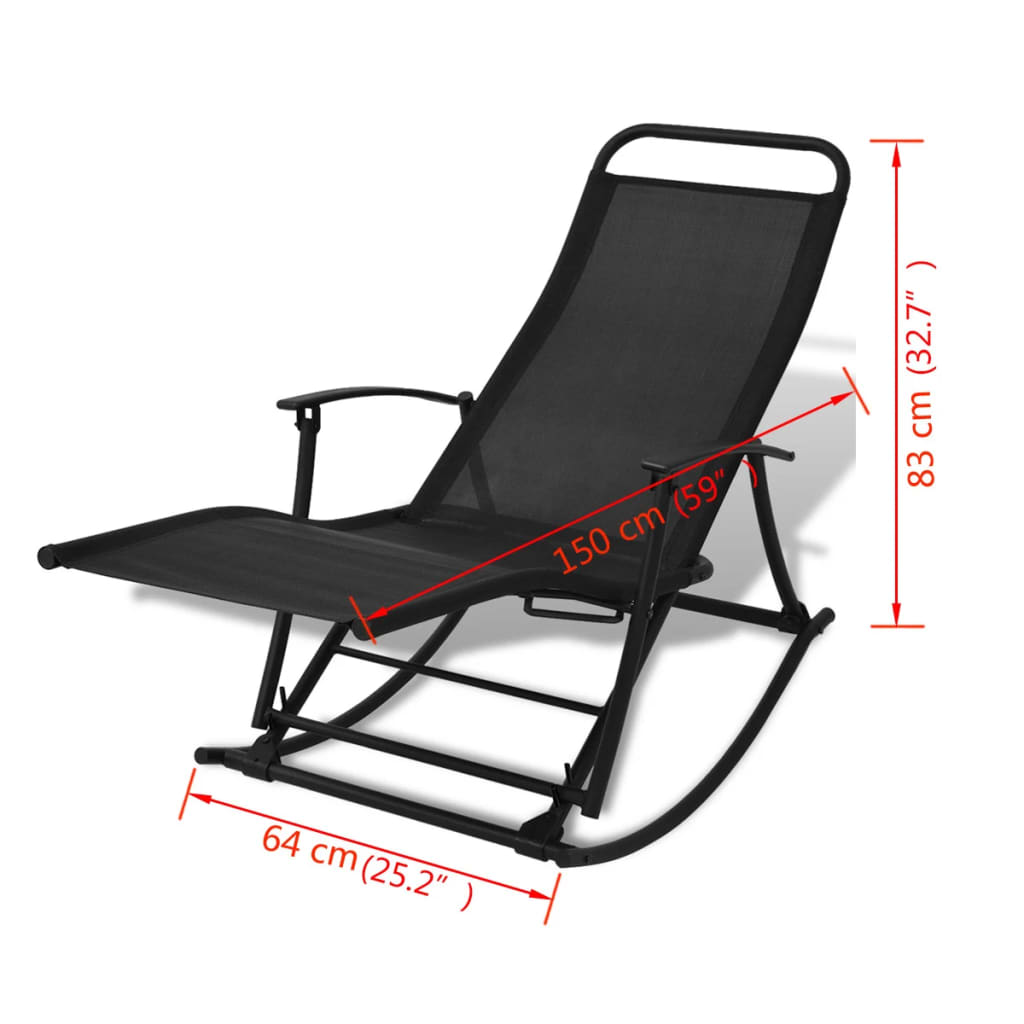 Vidaxl sillas mecedoras de jard n plegables negro for Sillas de jardin plegables