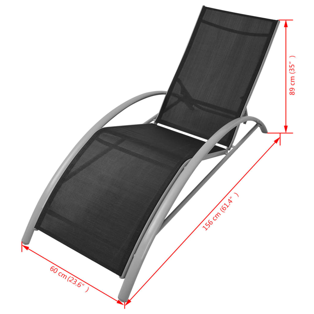 vidaxl set de tumbonas de aluminio 3 piezas negro. Black Bedroom Furniture Sets. Home Design Ideas
