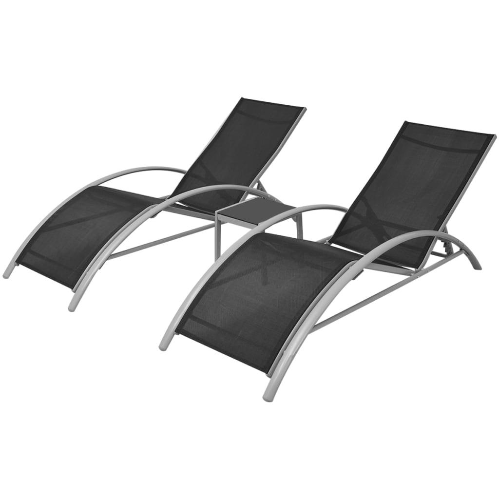 De Pcs Aluminium Chaise Jeu Noir 3 Vidaxl Longue ZkTuwOPXi