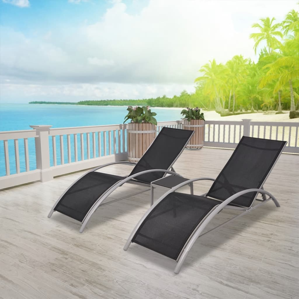 VidaXL Sunlounger Set 3 Piece Aluminum Patio Recliner Table Outdoor  Furniture