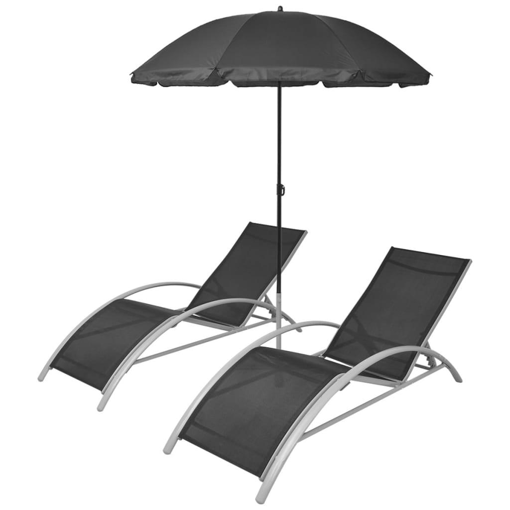 Acheter vidaxl jeu de 3 chaises longues avec parasol for Acheter chaises longues