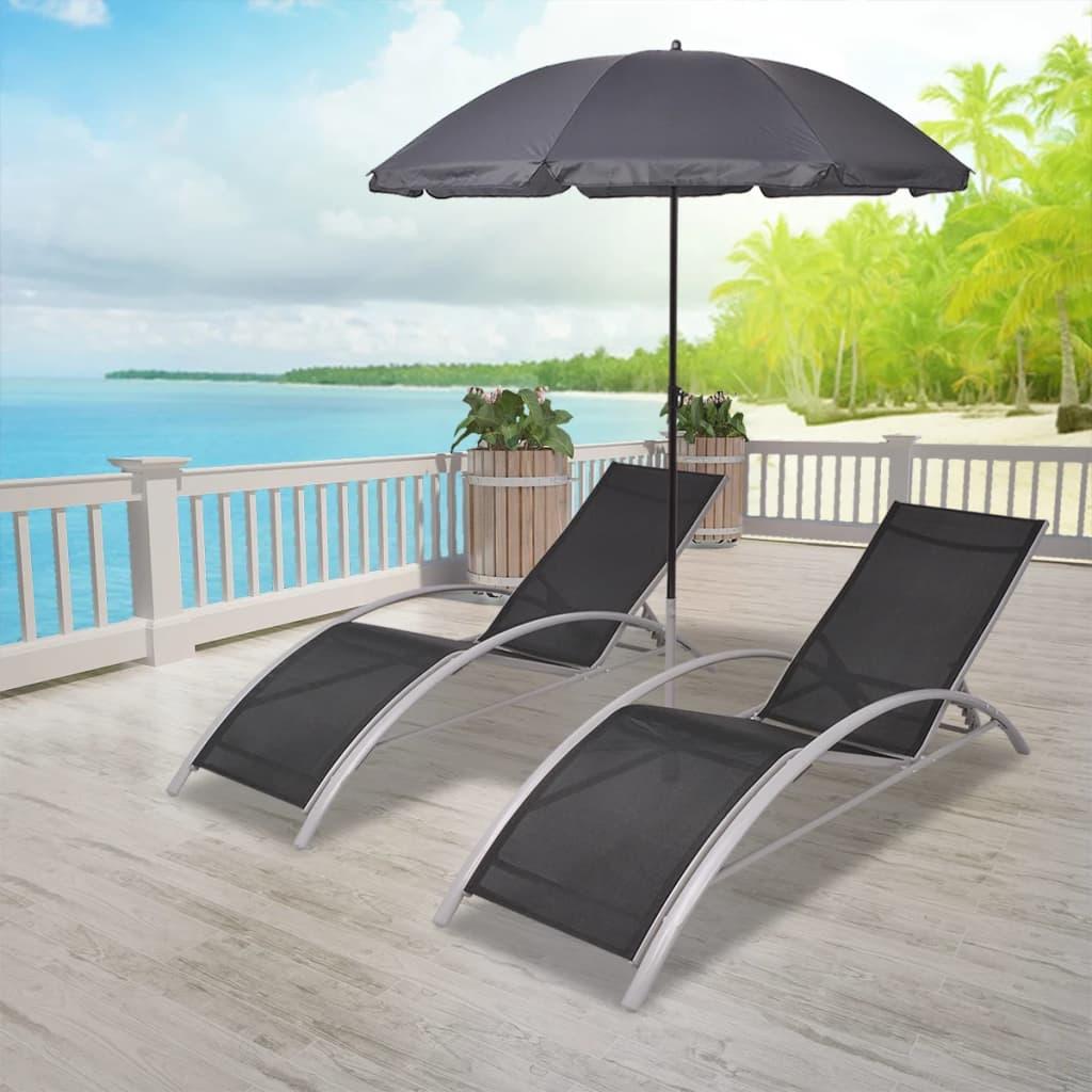 vidaXL Ligbeddenset met Parasol Aluminium Tuinset Lig Stoel Bed Stoelen Set