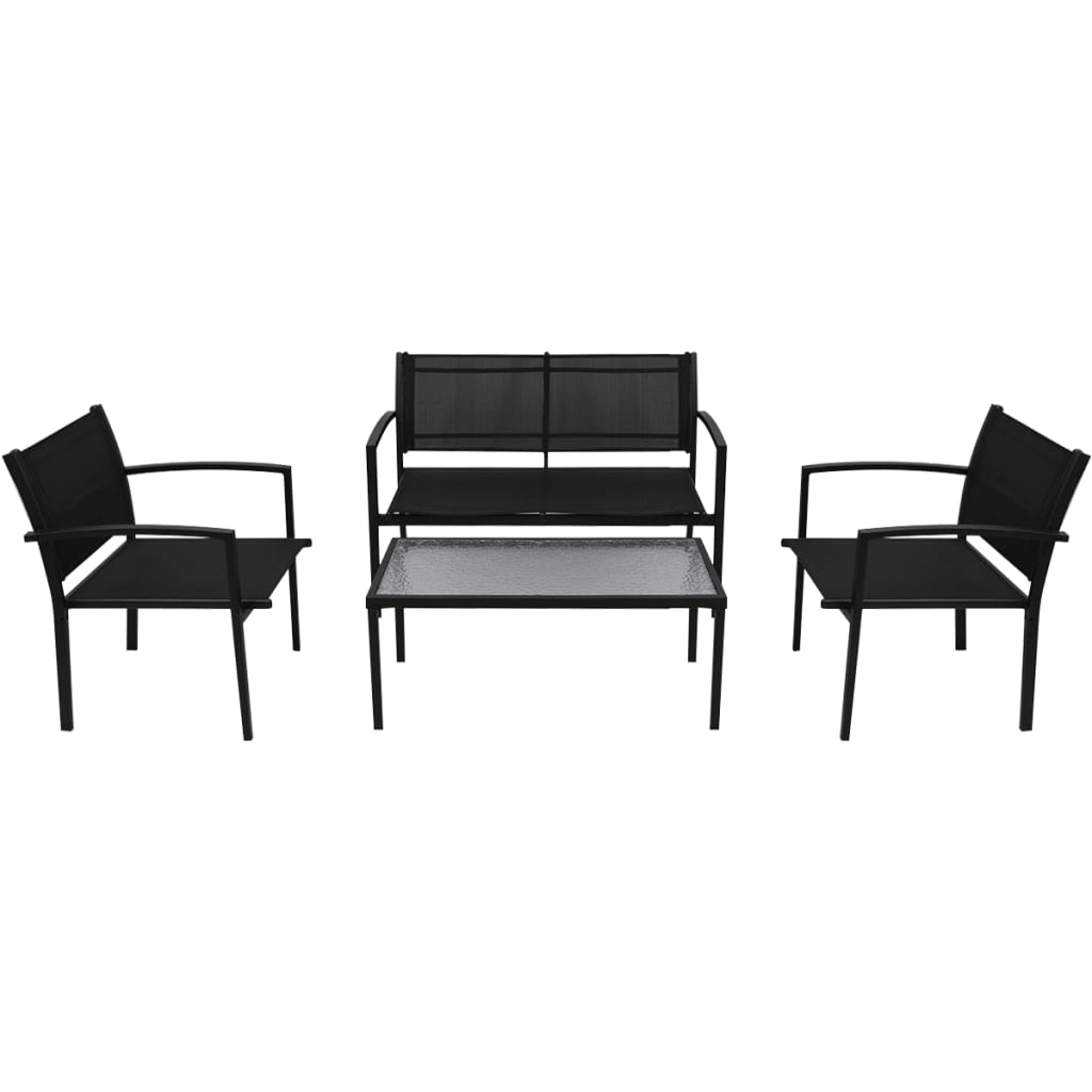4pcs Black Garden Furniture Set Glass Table And 2 Chairs 1
