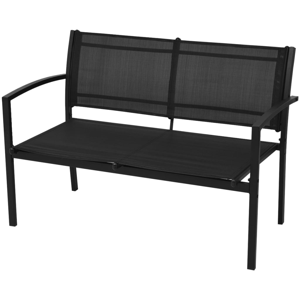 acheter vidaxl jeu de mobilier de jardin de 4 pi ces avec banc noir pas cher. Black Bedroom Furniture Sets. Home Design Ideas