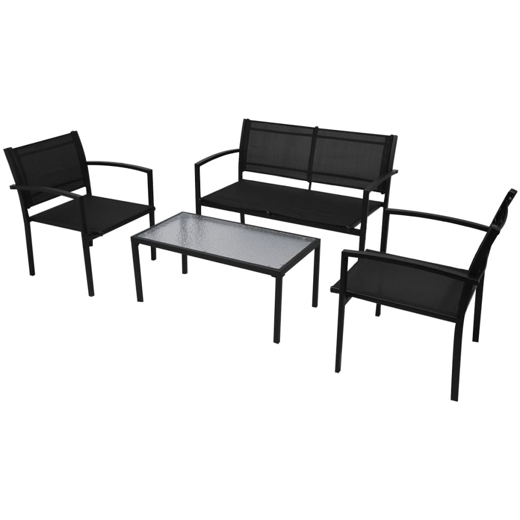 der vidaxl vierteiliges gartenm bel set mit bank schwarz online shop. Black Bedroom Furniture Sets. Home Design Ideas