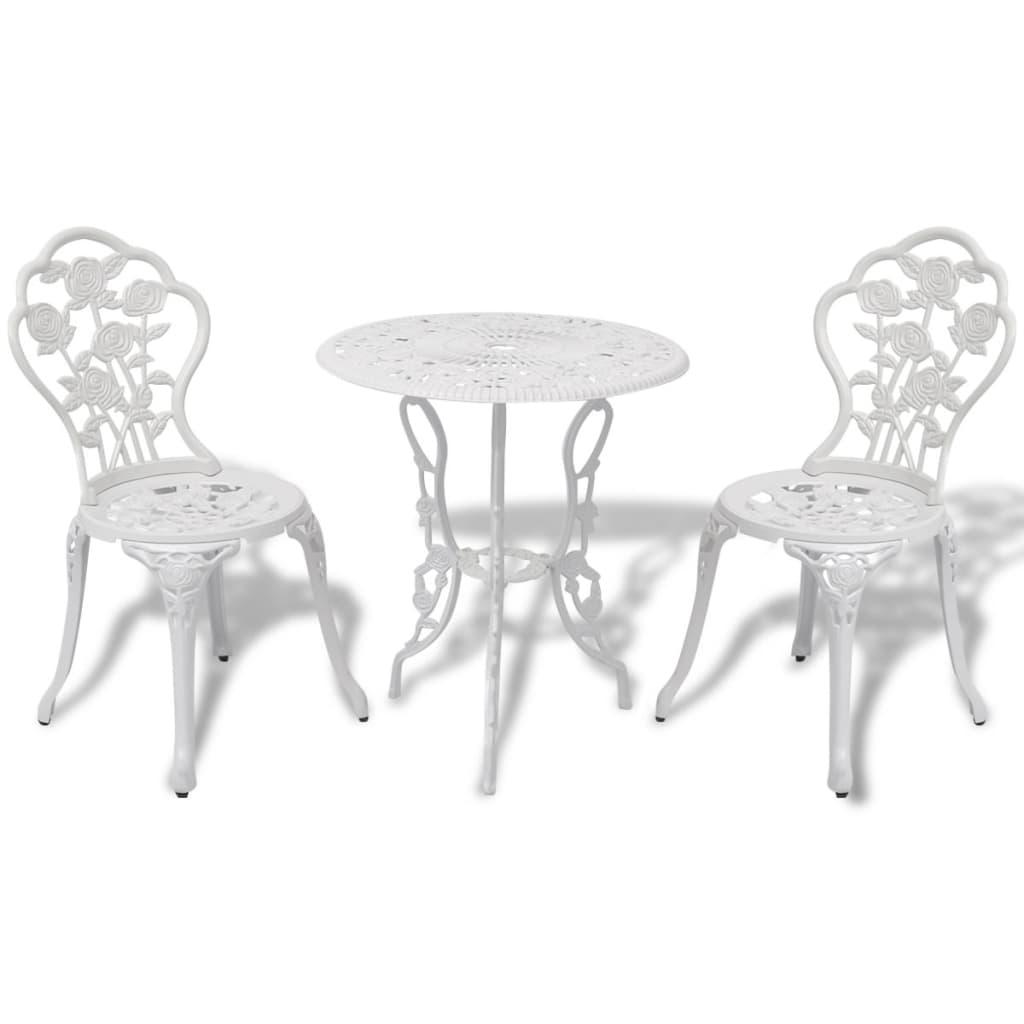 3tlg bistro set tisch 2 st hle garten essgruppe gartenm bel aluguss gr n wei ebay. Black Bedroom Furniture Sets. Home Design Ideas