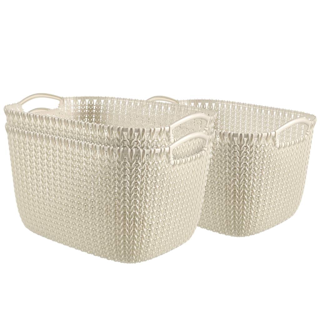 Afbeelding van Curver Manden Knit rechthoekig maat L wit 3 st 33700-X64-00