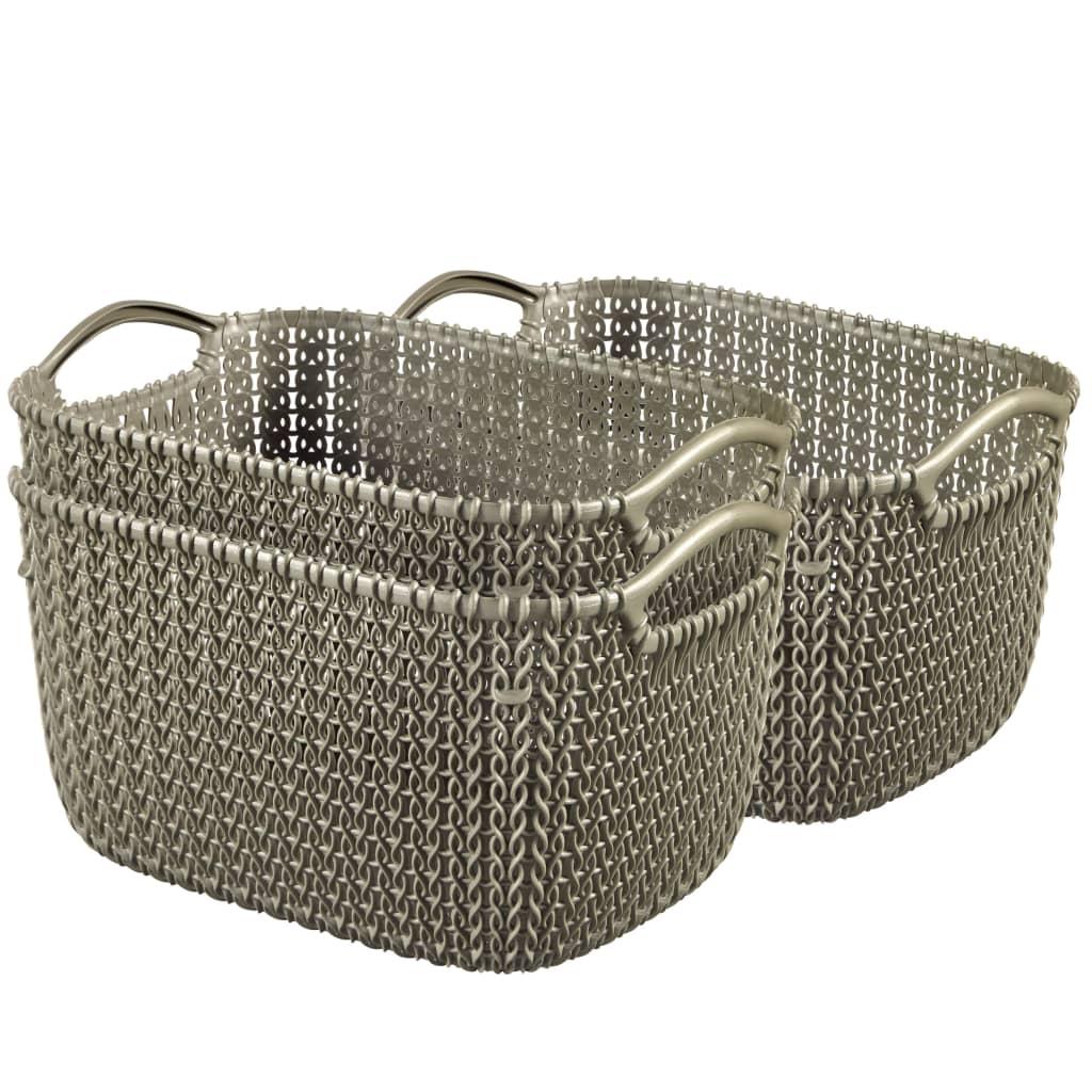 Afbeelding van Curver Manden Knit rechthoekig maat S bruin 3 st 33702-X59-00