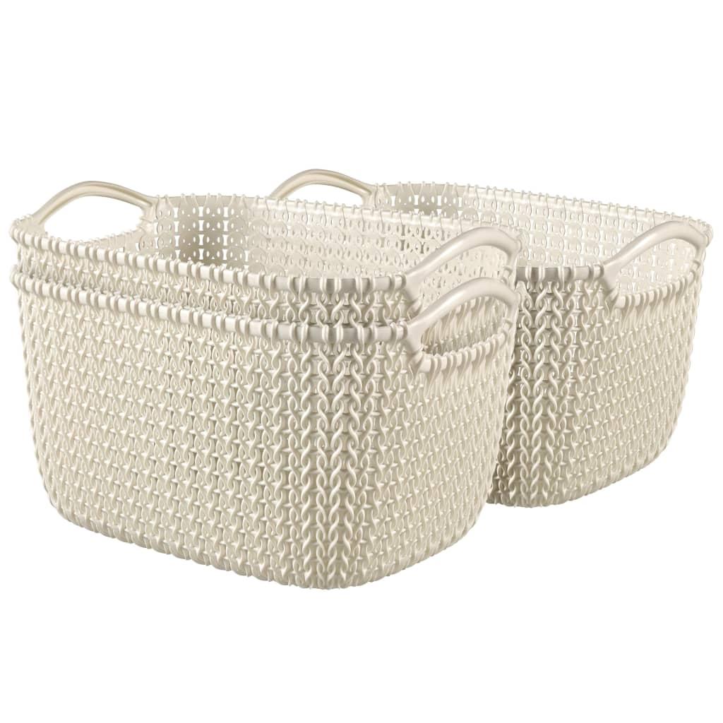 Afbeelding van Curver Manden Knit rechthoekig maat S wit 3 st 33702-X64-00